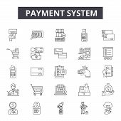 Payment System Line Icons, Signs Set, Vector. Payment System Outline Concept, Illustration: Payment, poster