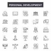 Personal Development Line Icons, Signs Set, Vector. Personal Development Outline Concept, Illustrati poster
