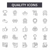Quality Line Icons, Signs Set, Vector. Quality Outline Concept, Illustration: Quality, Best, Mark, C poster