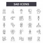 Sad Line Icons, Signs Set, Vector. Sad Outline Concept, Illustration: Sad, Happy, Face, Emotsmile, W poster