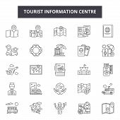 Tourist Information Centre Line Icons, Signs Set, Vector. Tourist Information Centre Outline Concept poster