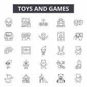 Toys And Games Line Icons, Signs Set, Vector. Toys And Games Outline Concept, Illustration: Toy, Gam poster