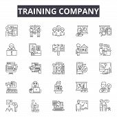 Training Line Icons, Signs Set, Vector. Training Outline Concept, Illustration: Training, Seminar, L poster