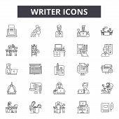 Writer Line Icons, Signs Set, Vector. Writer Outline Concept, Illustration: Writer, Education, Pen,  poster
