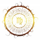 Astrological Symbols In The Circle. Golden Metallic Gradient. Maiden Sign poster