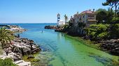 Scenic View In Cascais, Santa Marta Lighthouse And Museum, Lisbon District, Portugal poster
