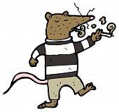 (raster version) cartoon smoking rat in striped top