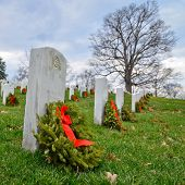 Tombstones in Arlington National Cemetery - Washington DC United States