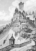 Lock in a glass mountain (the Brothers Grimm fairy tale). Engraving by  unknown artist. Published in