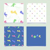 Dino Pattern. Seamless Tile With Dinosaurs And Polka. Dino Print Card For Invation Birthday Party. S poster