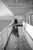 Girl On Ship Deck In Fashion Swimsuit. Summer Vacation And Travel To Ocean. Fashion And Beauty Look. poster