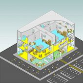 Care Home Building Vector Isometric