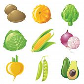 stock photo of turnip greens  - 9 highly detailed vegetables icons set - JPG