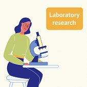 Laboratory Research Flat Vector Poster With Text. Woman With Microscope. Student At Biology Class. F poster