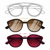 Vector Set Of Sunglasses In Different Style. Drawing Of Eyeglasses In Line Art Style. Black Outline  poster