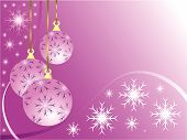 stock photo of christmas ornament  - An abstract Christmas vector illustration with a pink baubles on a darker backdrop with white snowflakes and room for text - JPG