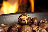 Organic Brown Chestnuts Roasting