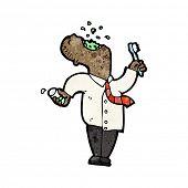 cartoon man brushing teeth before work