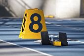stock photo of 8-track  - Closeup of starting block on running track of lane eight - JPG