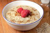 Healthy breakfast of hot oat bran cereal