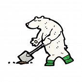 cartoon polar bear digging
