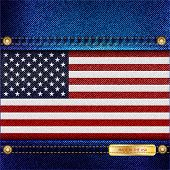 Stars and Stripes motif of denim background with stitch detail and rivets. Made in the USA concept. Also available in vector format.