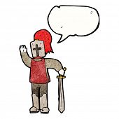 stock photo of arthurian  - cartoon knight with speech bubble - JPG
