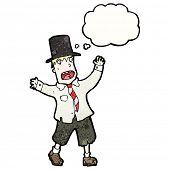 Cartoon homem vagabundo no Cartola com balão de pensamento