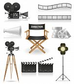 Set pictogrammen cinematografie Cinema en film vectorillustratie