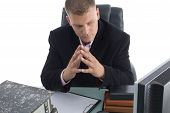 Thinking Businessman In Office