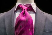 Grey Jacket With Magenta Tie