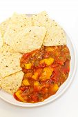 foto of chipotle  - Delicious Peach Mango Salsa with chipotle Chips - JPG