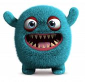 stock photo of bigfoot  - 3 d cartoon blue cute furry monster - JPG