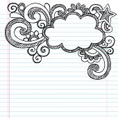 Cloud Frame Border Back to School Sketchy Notebook Doodles- Vector Illustration Design on Lined Sketchbook Paper Background