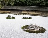 Famous Zen Garden Of The Ryoan-ji Temple In Kyoto