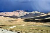 Road through the Tibetan plateau