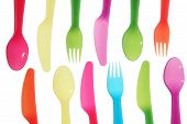 Different Colors Spoon Knife And Fork Background