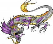 stock photo of cyborg  - Robot Cyborg Dragon Vector Illustration art - JPG