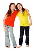 cute adorable children having fun together with bright colorful t-shirts isolated on white backgroun