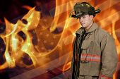 stock photo of firefighter  - Young attractive male American man firefighter ready for work - JPG