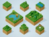 Complete Isometric Tiles series. Vector Illustration