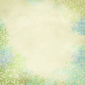 Winter Holidays Background, worn white textured backdrop framed with soft, pastel color snowflakes - plenty of copy space