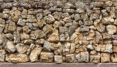 stock photo of fieldstone-wall  - Field Stone  Horizontal Backdrop or Background of Varying Shapes - JPG