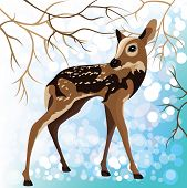 Young Deer In A Winter Forest, Vector Illustration
