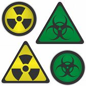 stock photo of hazard symbol  - Vector symbols of radiation and bio hazard - JPG