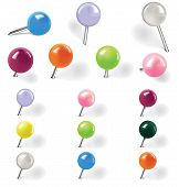 Pushpins On White Background. Vector Illustration