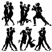 Illustration With Silhouettes Of A Number Of Couples Dancing