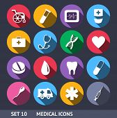 Medical Vector Icons With Long Shadow Set 10