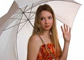 Young Smiling Girl With A Umbrella