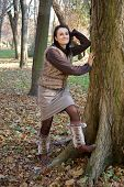 Autumn woman wearing leg warmers